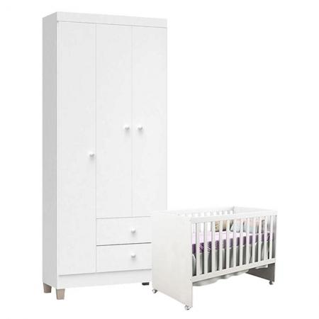 Berço Americano Gabi e Guarda Roupa Ternura Baby 3 Portas Branco Brilho - Incorplac