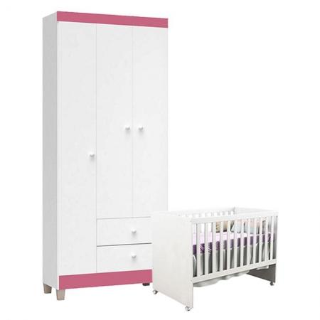 Berço Americano Gabi e Guarda Roupa Ternura Baby 3 Portas Branco Rosa - Incorplac