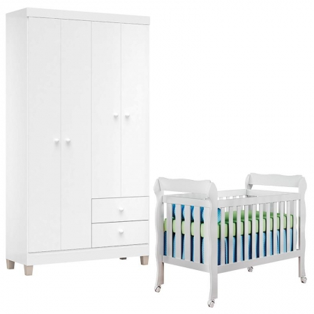 Berço Americano Lila e Guarda Roupa Ternura Baby 4 Portas Branco Brilho - Incorplac