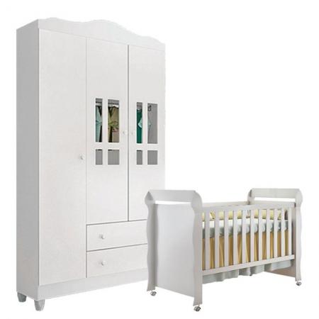 Berço Americano Mirelle e Guarda Roupa Infantil Ariel 3 Portas Branco Brilho - Carolina