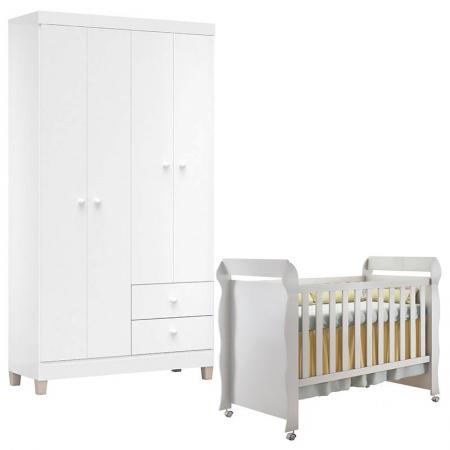 Berço Americano Mirelle e Guarda Roupa Ternura Baby 4 Portas Branco Brilho - Incorplac