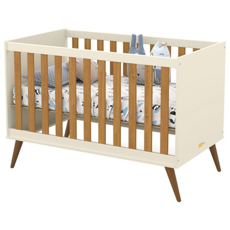 Berço Americano Retro Gold Off White Freijó Eco Wood - Matic