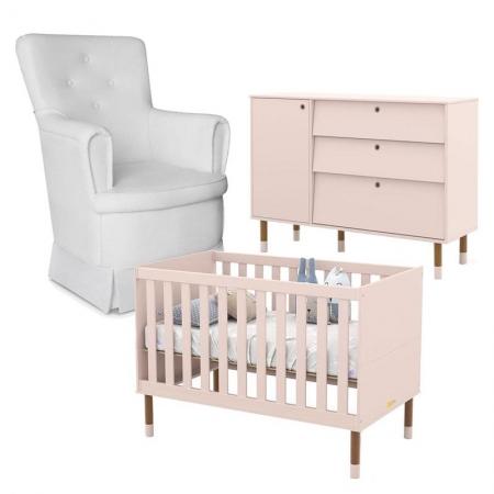 Berço e Cômoda Infantil UP Rosê Eco Wood e Poltrona de Amamentação Fixa Emilly - Matic