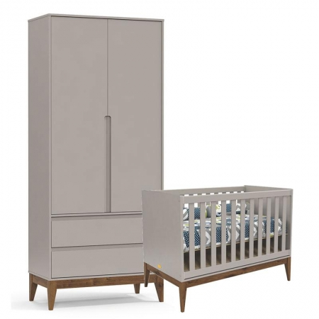 Berço e Guarda Roupa Infantil Nature Clean 2 Portas Cinza Eco Wood - Matic