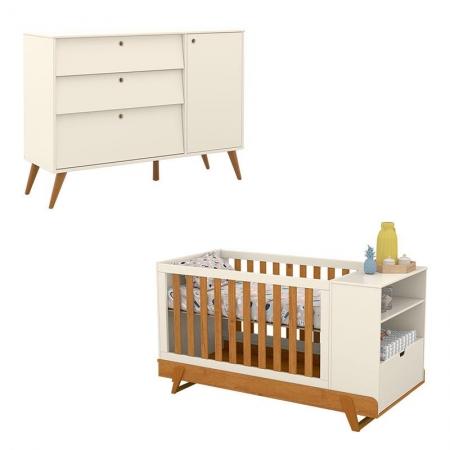 Berço Multifuncional Bkids com Cômoda Infantil Gold Off White Freijó Eco Wood - Matic
