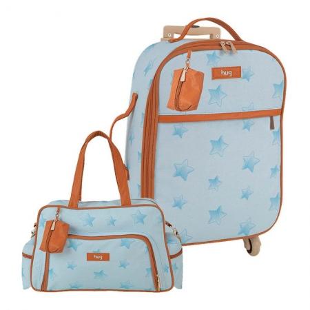 Bolsa e Mala Maternidade com Rodinha Céu Estrelado Azul - Hug