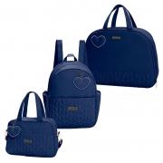 Bolsa Maternidade Kit 3 Peças com Mala Curaçau Azul Marinho - Hug