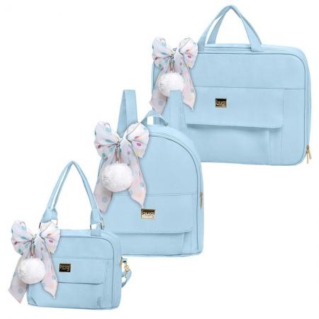 Bolsa Maternidade Kit 3 Peças com Mala Requinte Azul - Hug