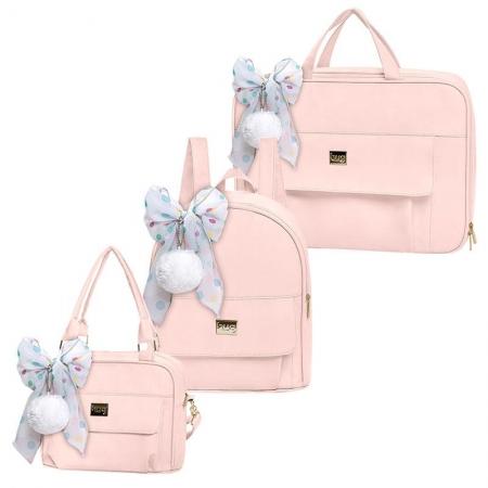 Bolsa Maternidade Kit 3 Peças com Mala Requinte Rosa - Hug