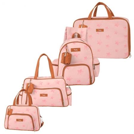 Bolsa Maternidade Kit 4 Peças Céu Estrelado Rosa - Hug
