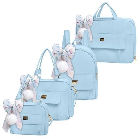 Bolsa Maternidade Kit 4 Peças Requinte Azul - Hug