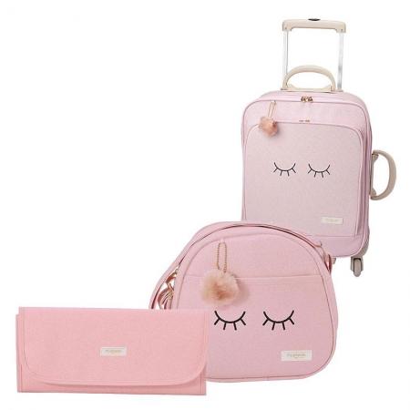 Bolsas Maternidade Kit 3 Peças com Trocador Chuva de Amor Rosa - Pirulitando