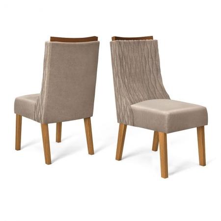 Cadeira para Mesa de Jantar Amélia Kit 02 Peças Demolição Veludo Kraft - Dj Móveis