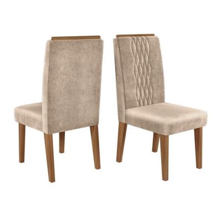 Cadeira para Mesa de Jantar Elen Kit 02 Peças Demolição Veludo Kraft - Dj Móveis