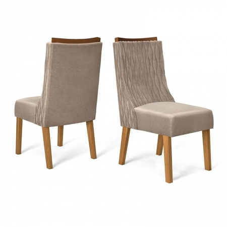 Cadeira para Mesa de Jantar Turquesa Kit 02 Peças Demolição Veludo Kraft - Dj Móveis