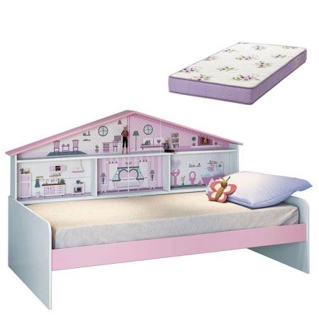 Cama Infantil Casa de Boneca Diversão com Colchão - Pura Magia