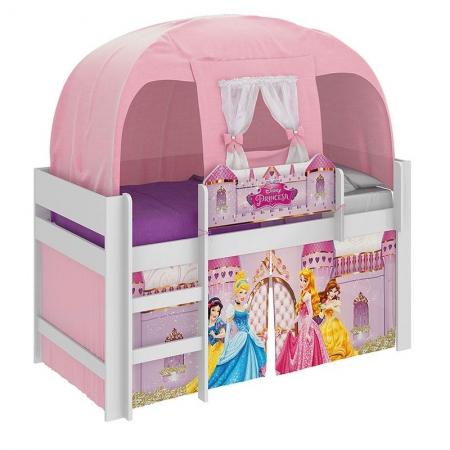 Cama Infantil Princesas Disney Play com Led e Barraca Branco - Pura Magia