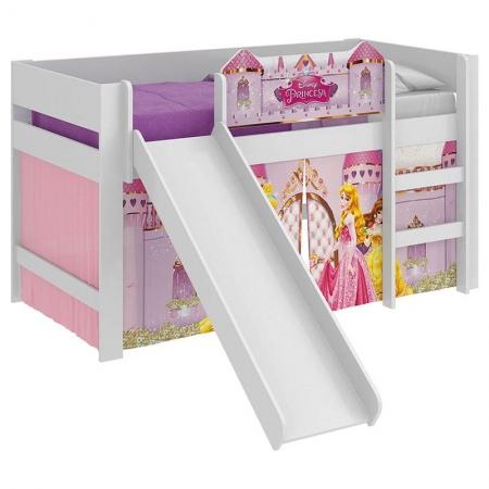 Cama Infantil Princesas Disney Play com Led e Escorregador Branco - Pura Magia
