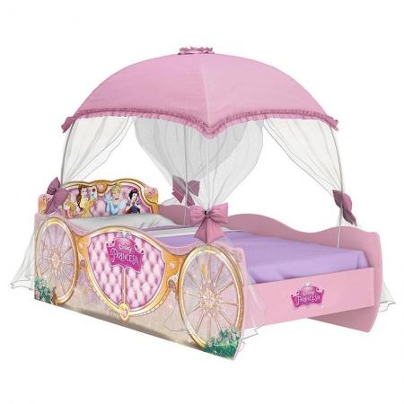 Cama Infantil Princesas Disney Star com Dossel Rosa - Pura Magia