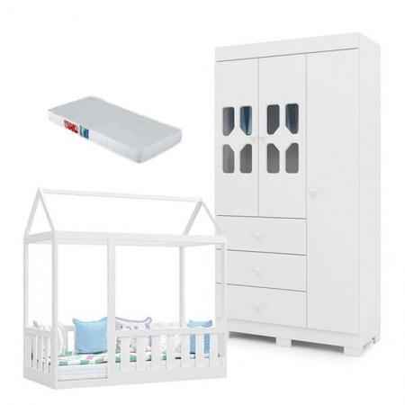 Cama Montessoriana com Grade Colchão e Guarda Roupa Infantil New Cristal 3 Portas Branco Brilho - Canaã
