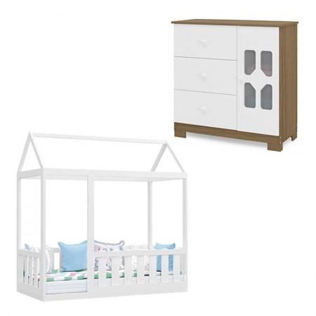 Cama Montessoriana com Grade e Cômoda Infantil New Cristal Branco Brilho Wengue - Canaã