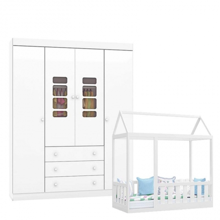Cama Montessoriana com Grade e Guarda Roupa Infantil Lis Branco Brilho - Canaã