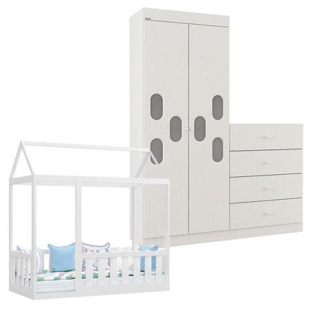 Cama Montessoriana com Grade e Guarda Roupa Infantil Meu Bebê Branco Brilho - Canaã