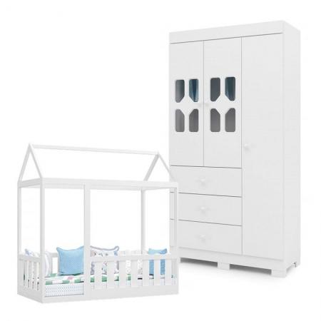 Cama Montessoriana com Grade e Guarda Roupa Infantil New Cristal 3 Portas Branco Brilho - Canaã