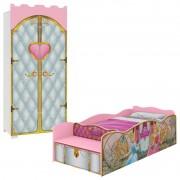 Cama Princesas Disney 9A e Guarda Roupa Castelo Premium - Pura Magia