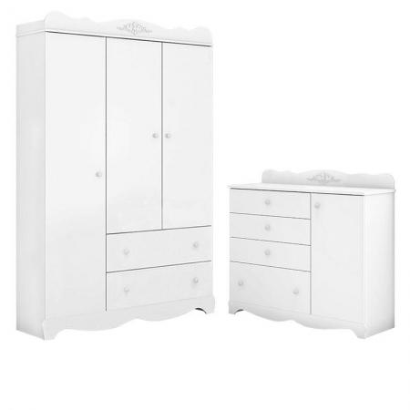Cômoda e Guarda Roupa Classic 3 portas Branco Acetinado - Móveis Estrela