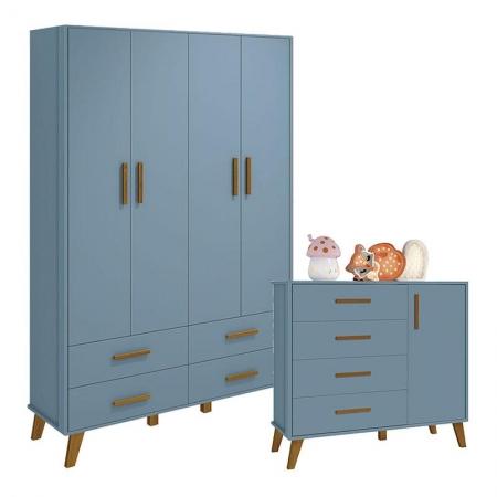 Cômoda e Guarda Roupa Infantil 4 Portas Retro Ayla Azul Fosco - Reller