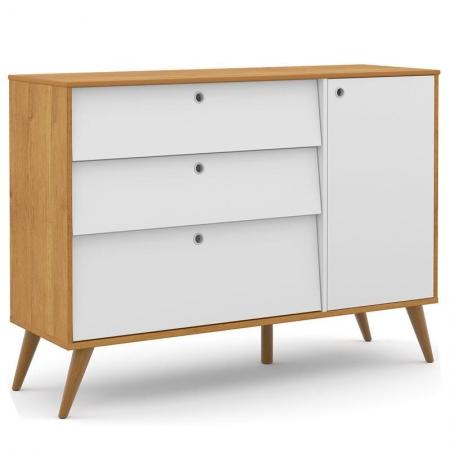 Cômoda Infantil com Porta Retro Gold Freijó Branco Soft Eco Wood - Matic