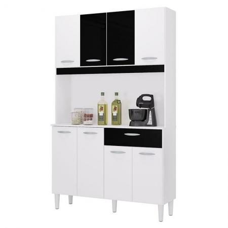 Cozinha Kit Cassia 8 Portas Branco Preto - Poquema