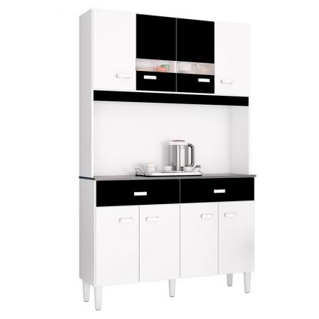 Cozinha Kit Manu 8 Portas Branco Preto - Poquema