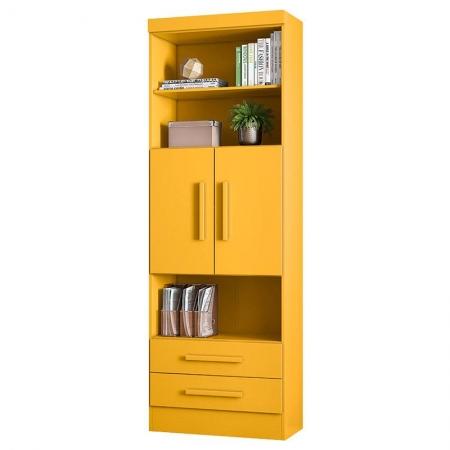 Estante para Livros 3700 2 Portas e 2 Gavetas Amarelo - Qmovi