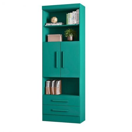 Estante para Livros 3700 2 Portas e 2 Gavetas Turquesa - Qmovi
