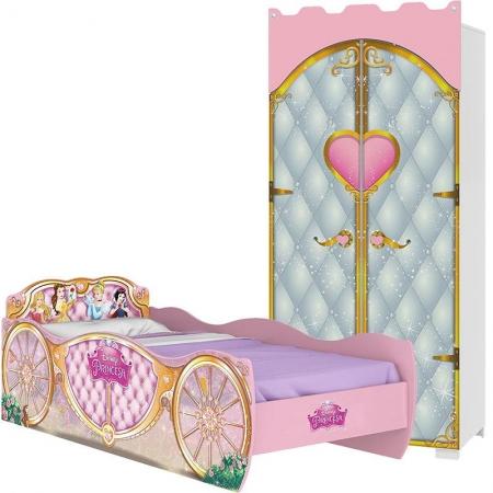 Guarda Roupa Infantil Castelo e Cama Princesas Disney Star - Pura Magia