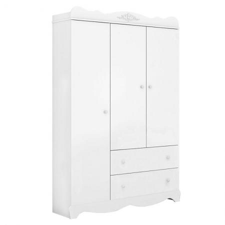 Guarda Roupa Infantil Classic 3 Portas Branco Acetinado - Móveis Estrela