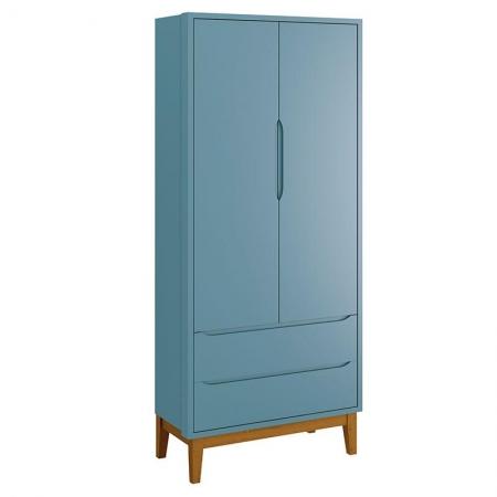 Guarda Roupa Infantil New Classic 2 Portas Azul com Pés Madeira - Reller