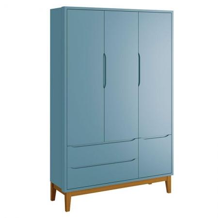 Guarda Roupa Infantil New Classic 3 Portas Azul com Pés Madeira - Reller
