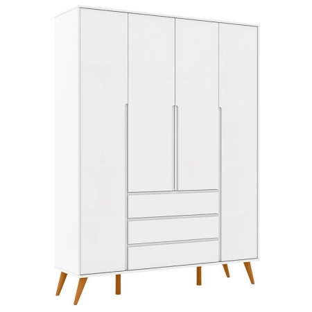 Guarda Roupa Infantil Retrô Clean 4 Portas Branco Soft Eco Wood - Matic