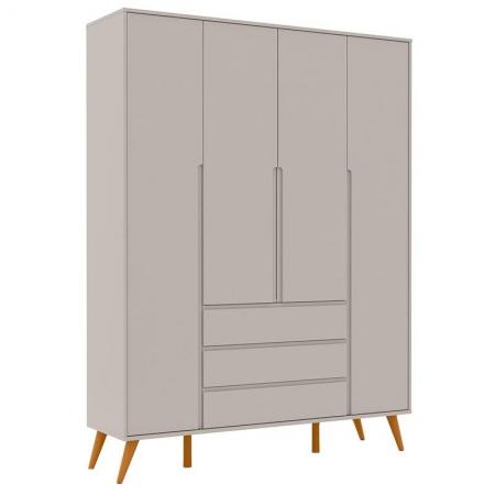 Guarda Roupa Infantil Retrô Clean 4 Portas Cinza Eco Wood - Matic