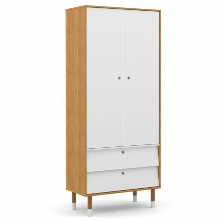 Guarda Roupa Infantil UP 2 Portas Freijó Branco Soft Eco Wood - Matic