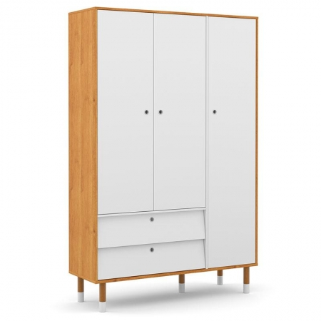 Guarda Roupa Infantil UP 3 Portas Freijó Branco Soft Eco Wood - Matic