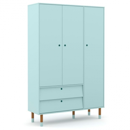 Guarda Roupa Infantil UP 3 Portas Menta Eco Wood - Matic