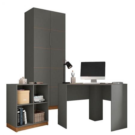 Kit Home Office com Livreiro e Mesa de Canto Cubic Chumbo Louro Freijó - Caemmun