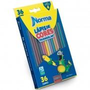 Lápis De Cor 36 Cores Triangular + Apontador Norma