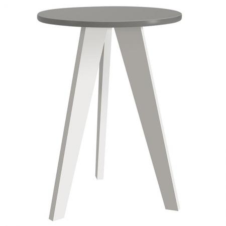 Mesa de Canto Prince Cinza Branco Acetinado - Reller