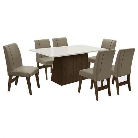Mesa de Jantar com 6 Cadeiras Pádua Castanho Mascavo - Dobuê