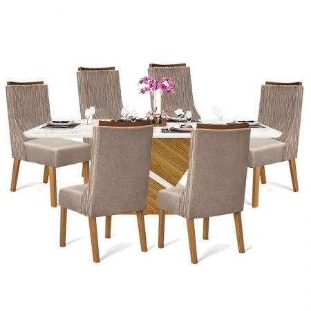 Mesa de Jantar com 6 Cadeiras Turquesa Carvalho Nobre Off White - DJ Móveis